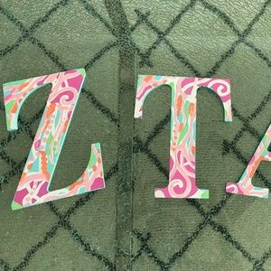 Lily Pulitzer Inspired ZTA letters